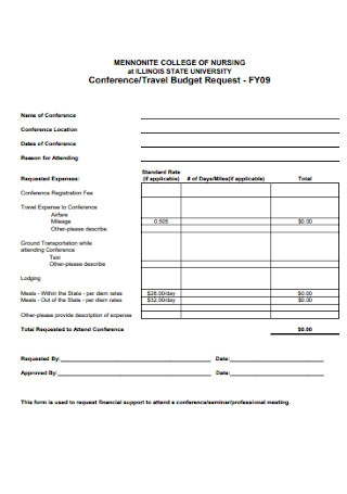College Travel Budget Template