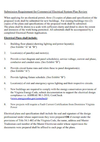 Commercial Electrical System Plan