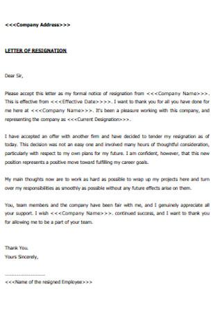 Company Resignation Letter