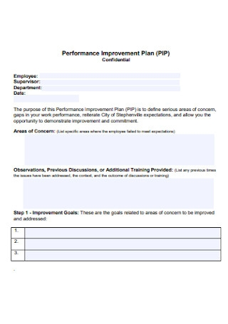 Confidential Performance Improvement Plan
