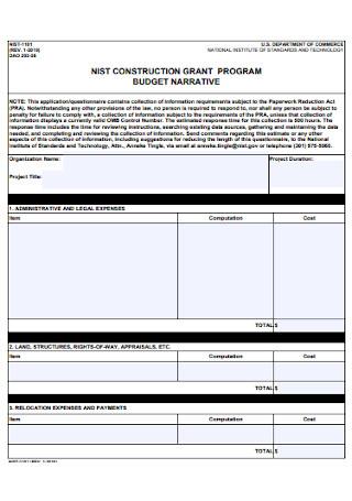 Construction Grant Program Budget