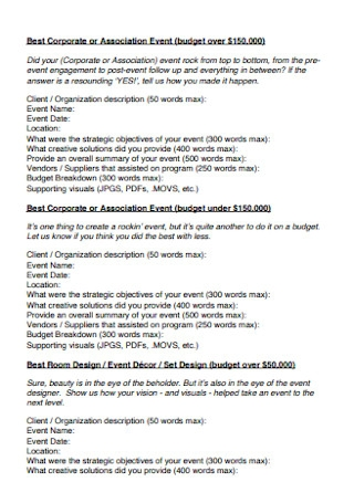 Corporate or Association Event Budget