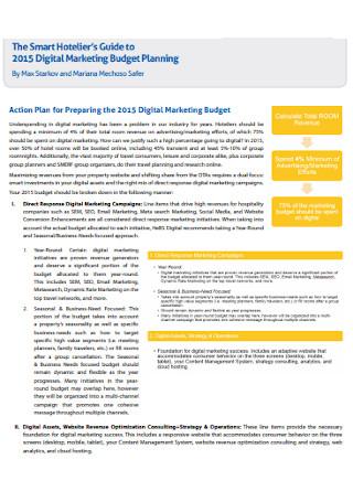Digital Marketing Planning Budget