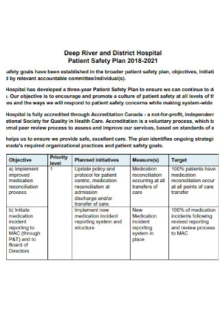 District Hospital Patient Safety Plan