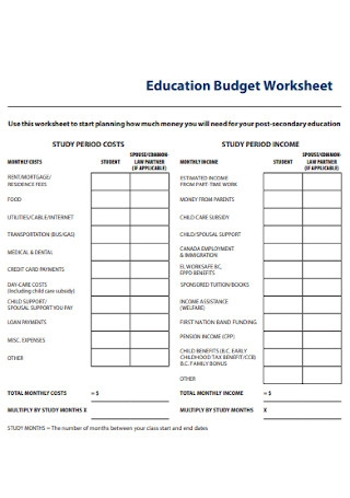 Education Budget Worksheet