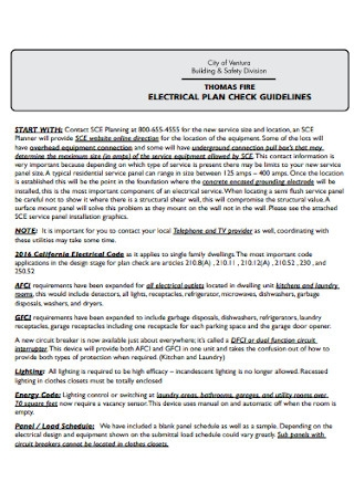 Electrical Check Plan Example