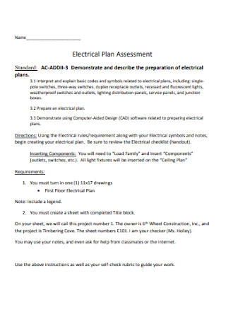 Electrical Plan Assessment Template