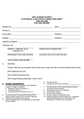 Electrical Plan Sheet