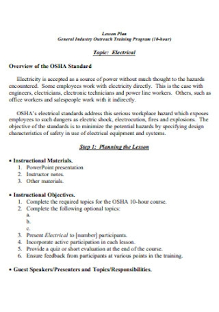 Electrical Training Program Plan