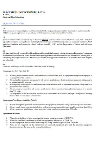 Eletrical Inspection Plan