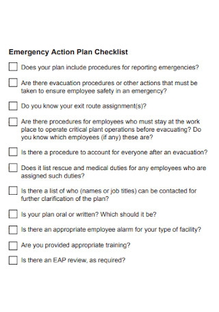 Emergency Action Plan Checklist Example