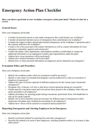 Emergency Action Plan Checklist Template