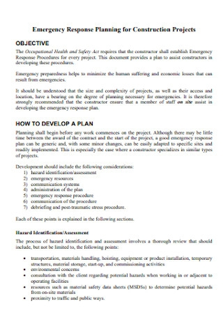 Emergency Action Plan for Construction Projects