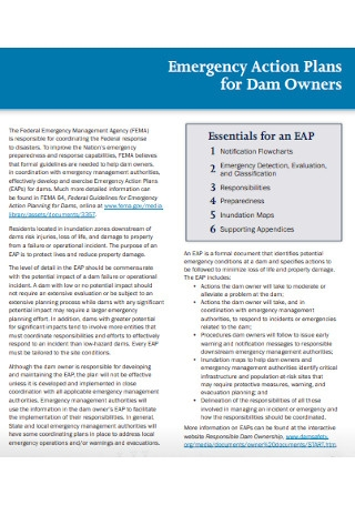 Emergency Action Plans for Dam Owners