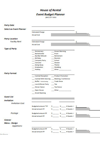 Event Budget Planner Template