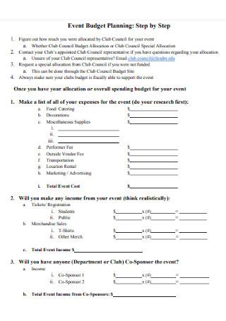Event Planning Budget