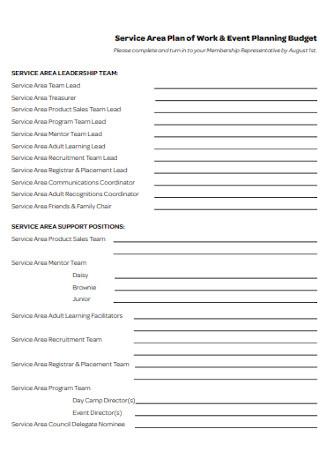 Event Work Planning Budget