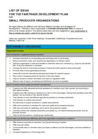 Fairetrade Development Plan