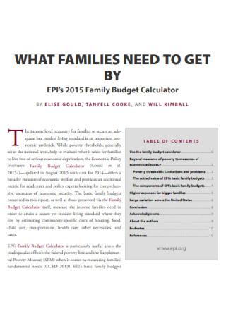 Family Budget Calculator Template