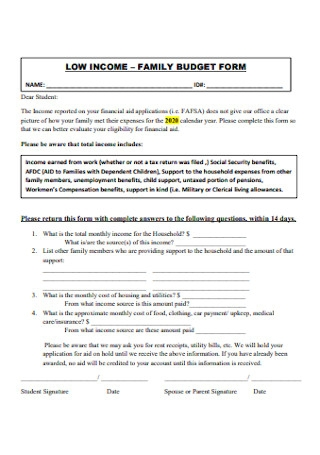 Family Budget Form Template