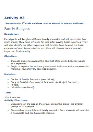 Family Budgets Format