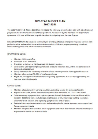 Five Year Budget Plan Template