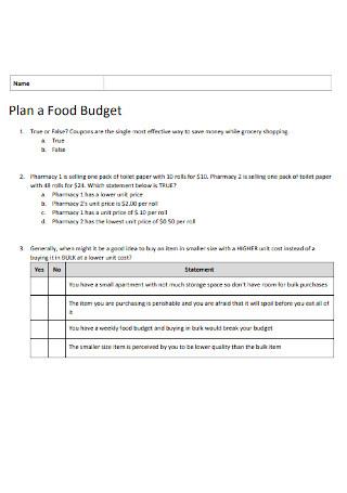 Food Plan Budget Template