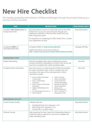Formal New Hire Checklist