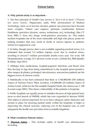 Formal Patient Safety Plan