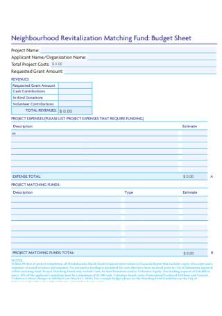 Fund Budget Sheet