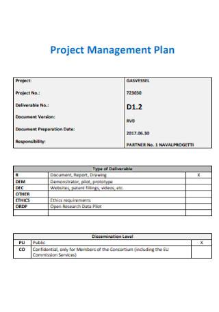 Gas Transport Project Management Plan