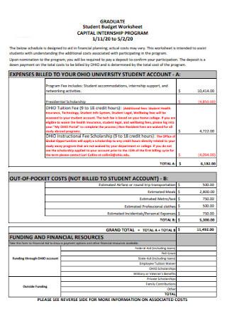 Graduate Student Budget Template