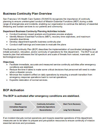 Health Care Business Continuity Plan