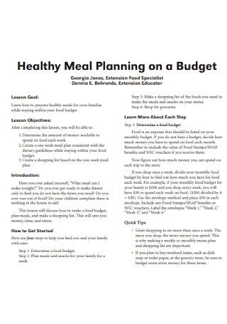 Health Meal Planning Budget