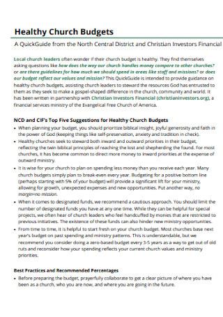 Healthy Church Budgets