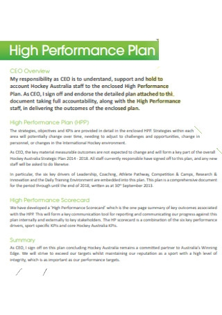 High Performance Plan