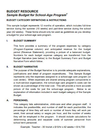 Home Budget for School Template