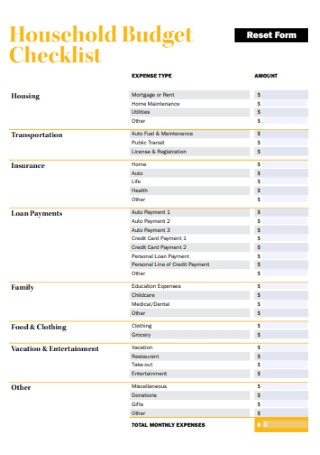 Household Budget Checklist Template
