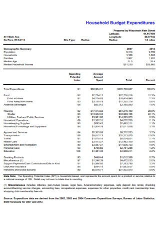 Household Budget Expenditures Template