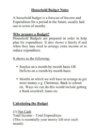 Household Budget Notes Template