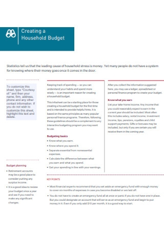 Household Financial Planning Budget