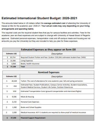 International Student Budget Sheet