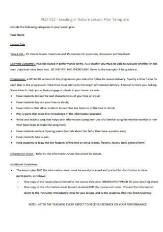 Leading in Nature Lesson Plan Template