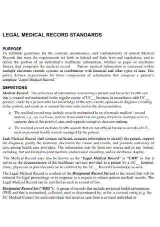 Legal Medical Recods Receipt