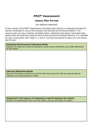 Lesson Assessment Plan Format