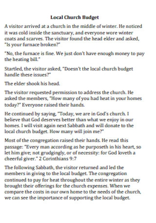 Local Church Budget Example