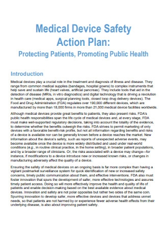 Medical Device Patient Safety Plan