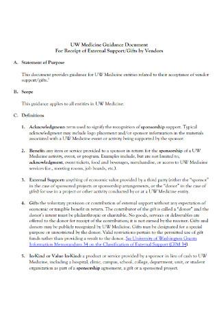 Medicine Guidance Document for Receipt