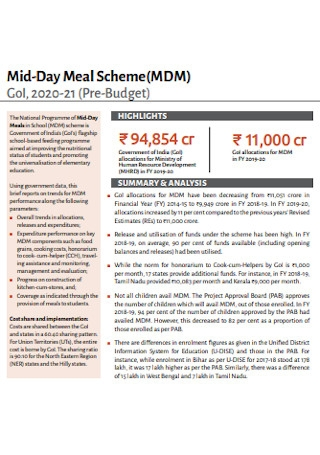 Mid Day Meal Budget Template
