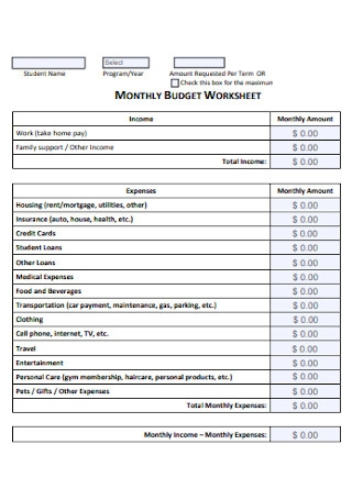 Monthly Budget Expense Worksheet